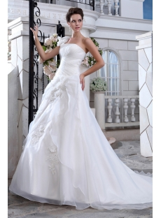 Wonderful A-line One Shoulder Princess Wedding Dresses with Corset