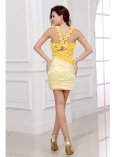 Yellow Mini Junior Prom Dresses with Flowers