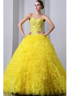 Yellow Sweetheart Ruffled Best Quinceanera Dress in the World