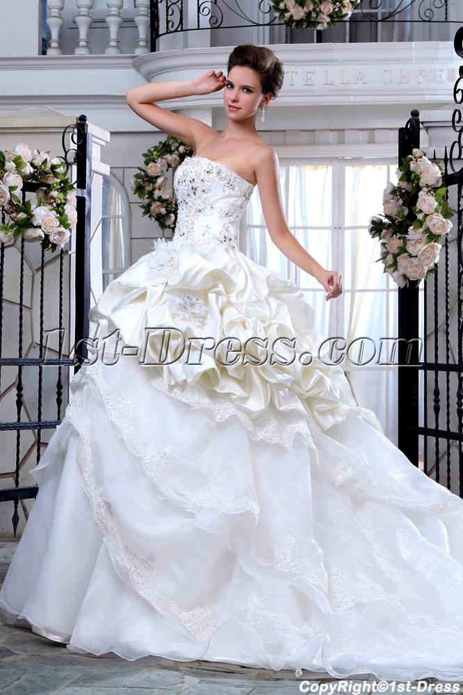 Appliques Beaded Elegant Wedding Dresses with Long Trains:1st-dress.com