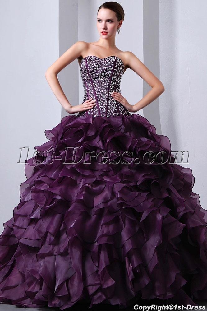 b9c78fe568d Beaded Pretty Purple Sweetheart Organza Ruffled fiesta de quince años Dress