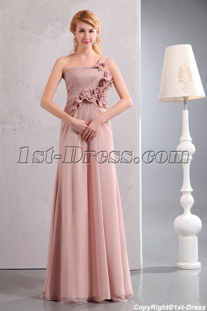 Beautiful Dusty Rose One Shoulder Chiffon Evening Dress With Flowers Loading Zoom