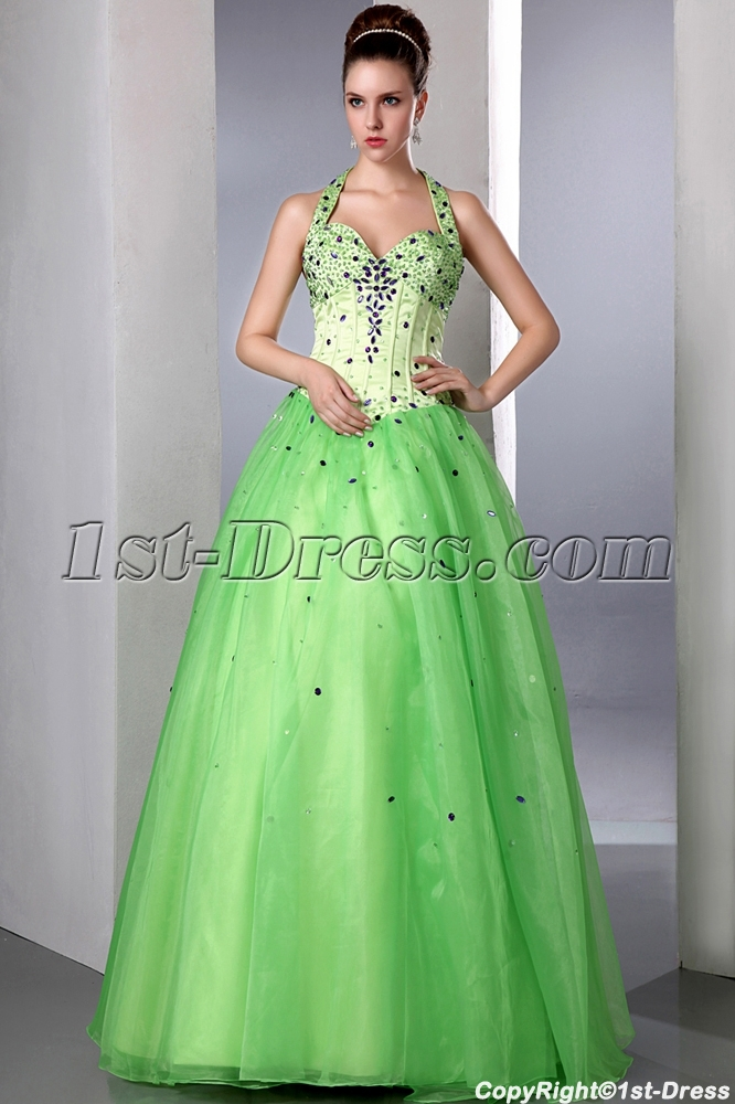 Beautiful Green Beaded Halter Organza baile de debutantes Ball Gown