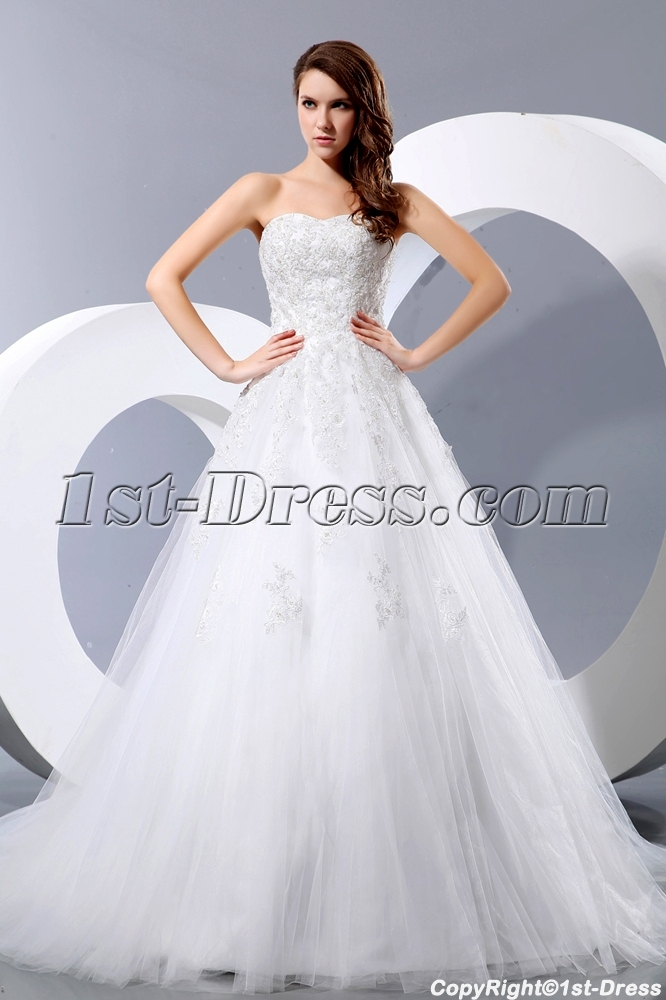 Beautiful Sweetheart Lace Ball Gown Wedding Dresses:1st-dress.com