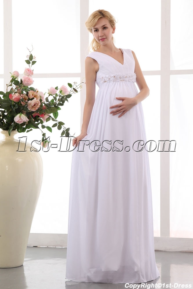 Best White Chiffon V-neckline Long Pregnant Bridal Gowns:1st-dress.com
