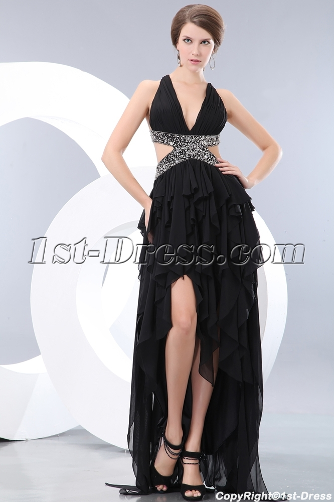 0bfcd4cabb7 Black Ruffle High-low Cocktail Dress with Criss-cross (Free Shipping)