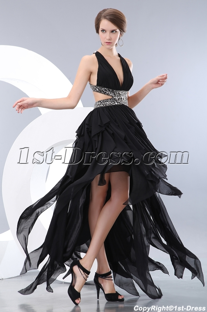 3b220f4d8f5 prev  next. Specifications. Product Name  Black Ruffle High-low Cocktail  Dress with Criss-cross. ltem Code  xl004143. Category  Prom Dresses High-Low  ...