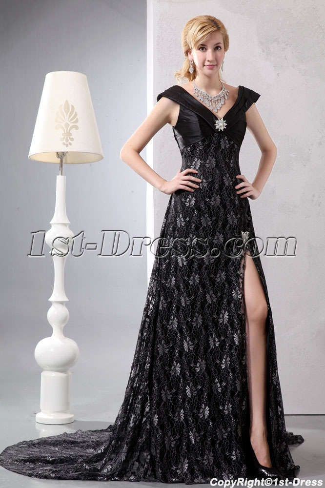 Black V-neckline Lace Slit Plus Size Evening Dress with Train:1st ...