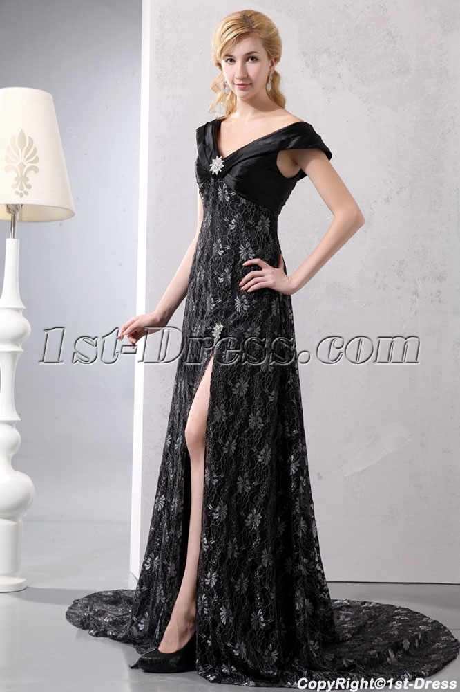 Black V Neckline Lace Slit Plus Size Evening Dress With Train1st