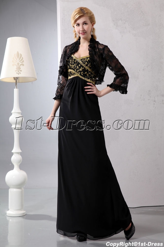 Black and Gold Long Mother of Brides Dress with 3/4 Length Lace ...