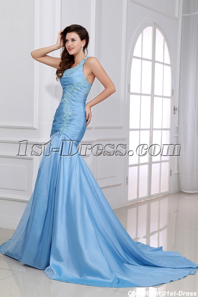 Blue One Shoulder Military Evening Gowns:1st-dress.com