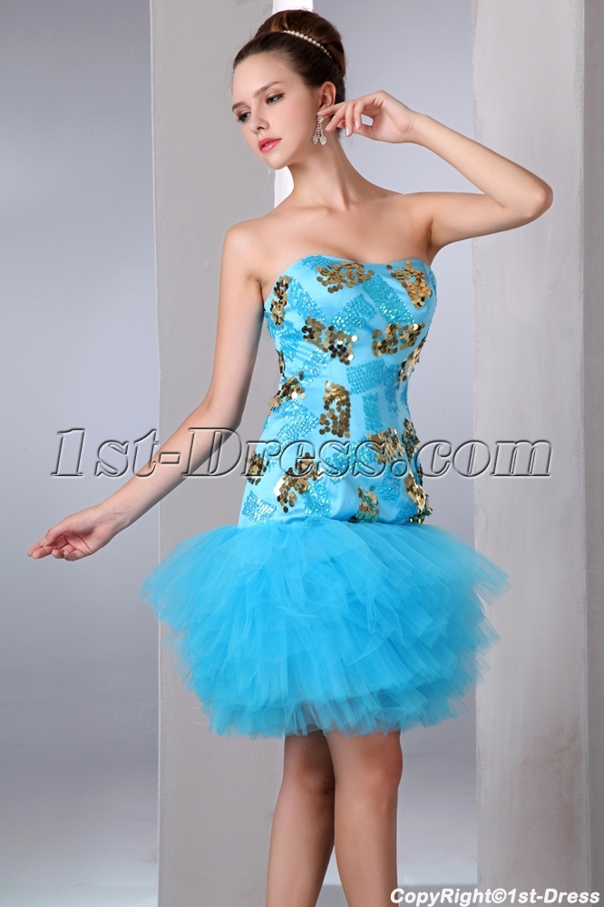 5f9225f1f27 Blue and Gold Drop Waist Mini Sweet 15 Dresses in Mexico 1st-dress.com