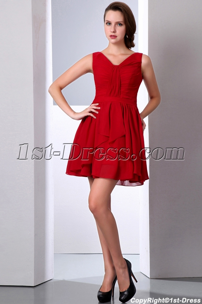 Burgundy Short Chiffon Formal Homecoming Dress