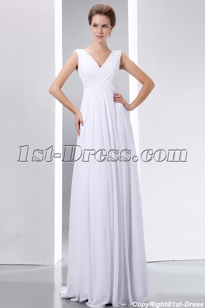 Casual Floor Length V-neckline Plus Size Bridal Gowns:1st-dress.com