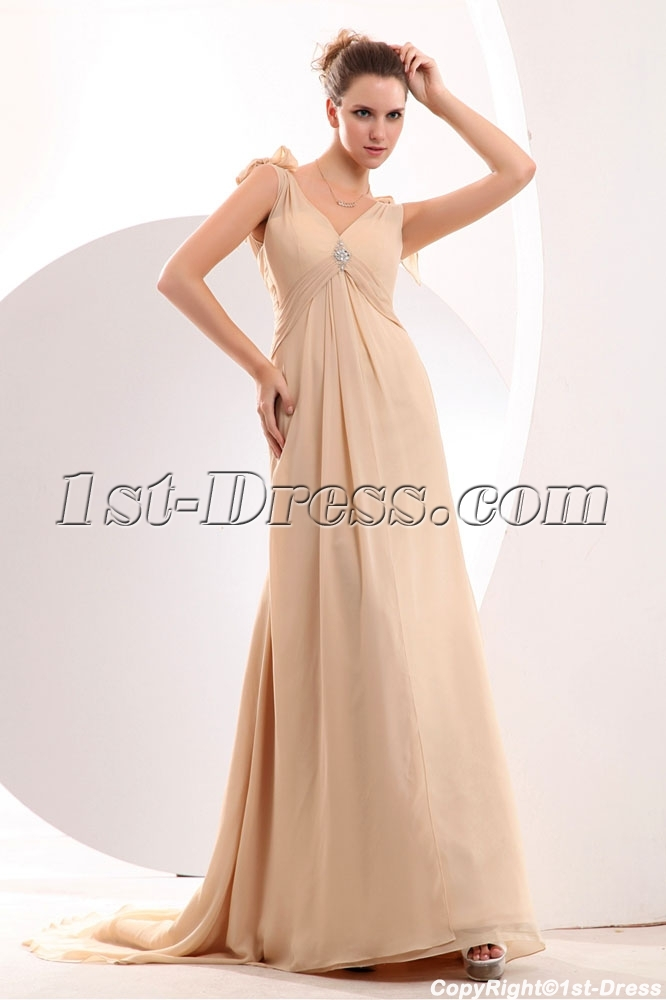 Champagne chiffon empire plus size evening dress with for Plus size champagne colored wedding dresses