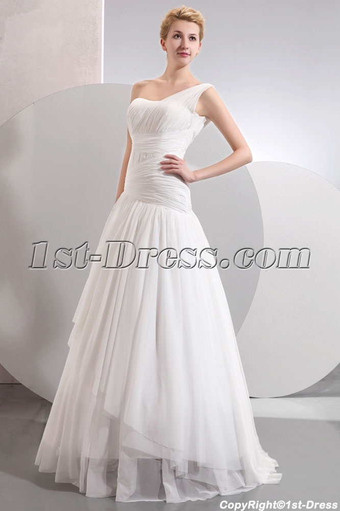 Charming Floor Length One Shoulder Drop Waist Casual Wedding Dresses ...