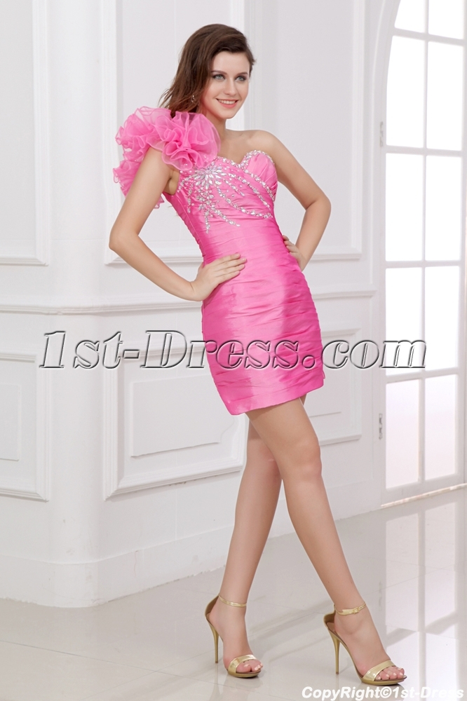 06f41db604 Charming Pink One Shoulder Graduation Dresses for High School 1st ...
