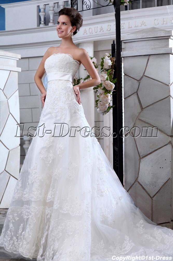 Charming strapless a line lace wedding dresses chicago 1st for Wedding dresses chicago area