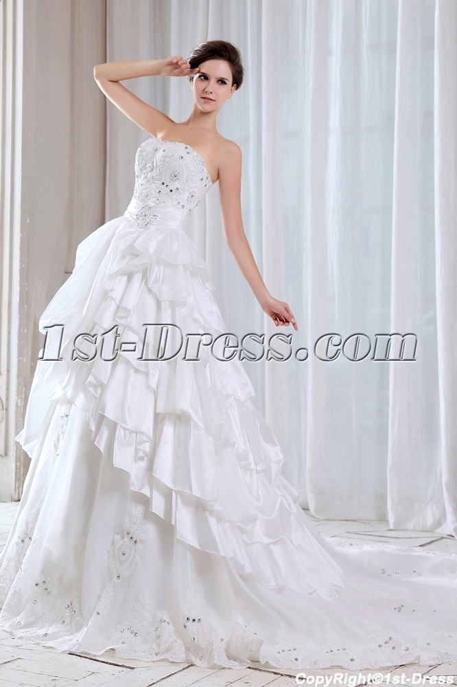 Charming Strapless Mexican Ball Gown Wedding Dress Loading Zoom