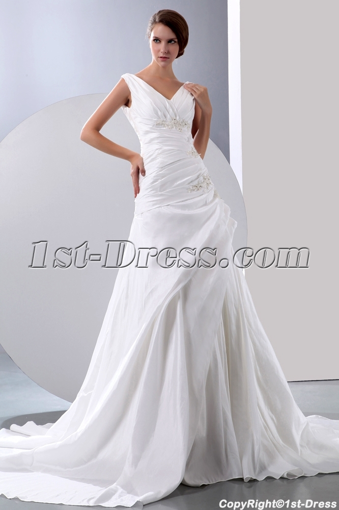 Charming V-neckline Wedding Dresses for the Older Bride:1st-dress.com