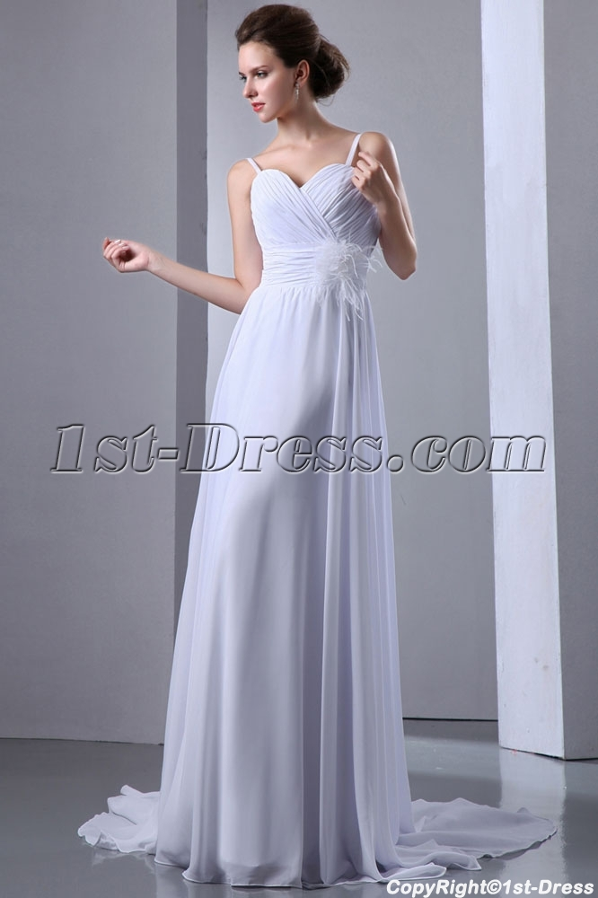 Cheap Ivory Straps Simple Feather Plus Size Wedding Dresses1st