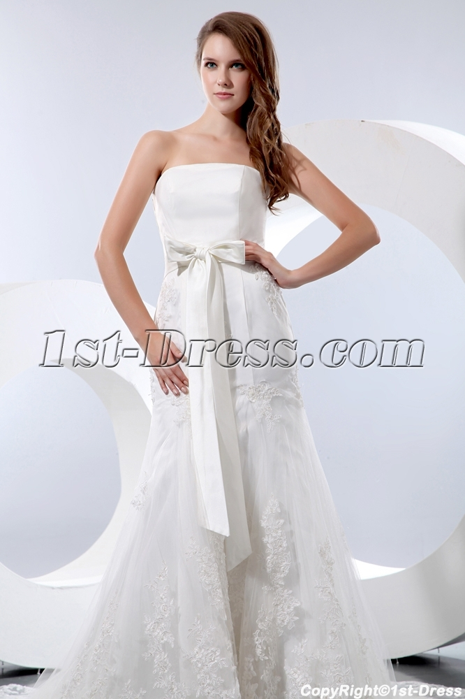Cheap Strapless Sheath Bridal Gowns Atlanta with Bow:1st-dress.com