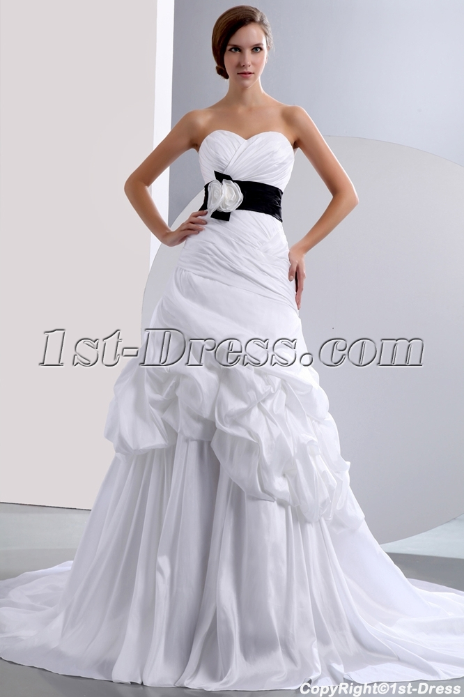 Chic Sweetheart Princess Taffeta Bridal Gown with Black Band:1st ...