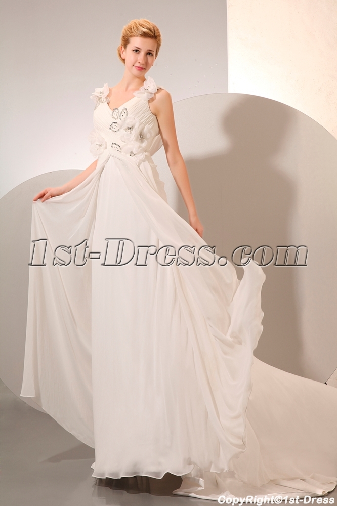 Chiffon Beach Low Back Wedding Dress Spring For Plus Size