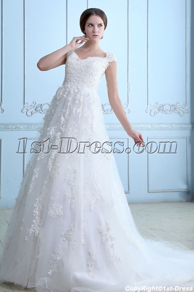 Classic Plus size Lace Wedding Dress with Cap Sleeves:1st-dress.com