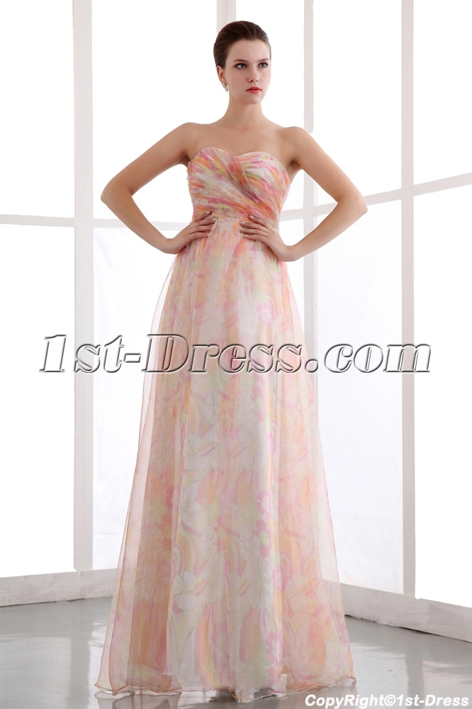 Colorful Printed Organza Long Pretty Prom Dress:1st-dress.com