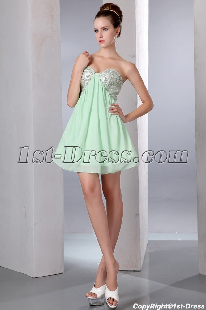 Cute Sequins Sage Mini Chiffon Homecoming Dress