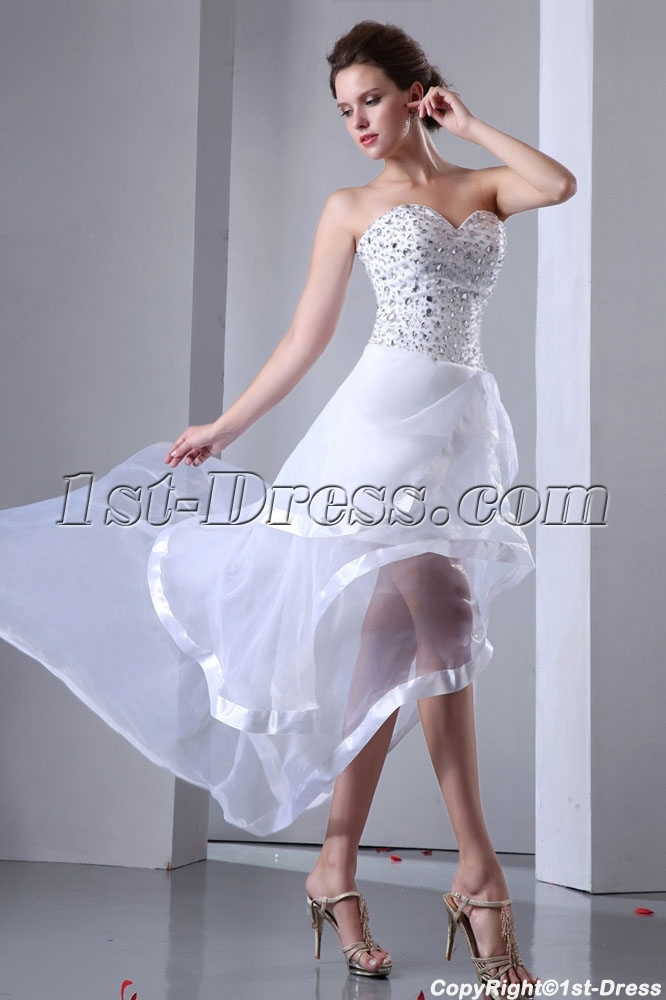 Cute summer beaded sweetheart high low wedding gown 1st for High low ball gown wedding dress
