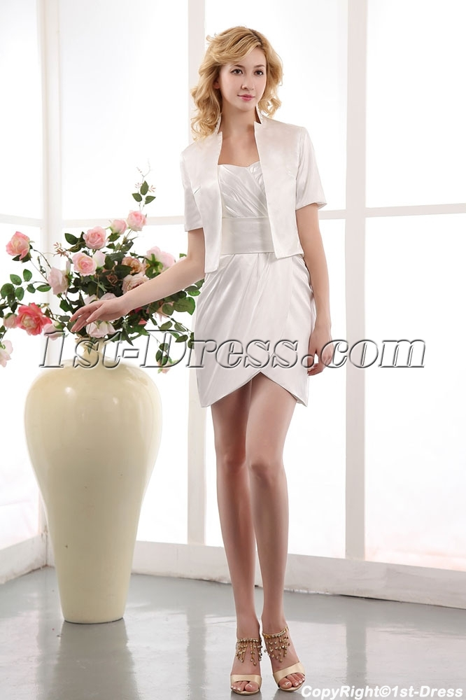 Cute white mini bridal dress with short jacket 1st for Cute short white wedding dresses
