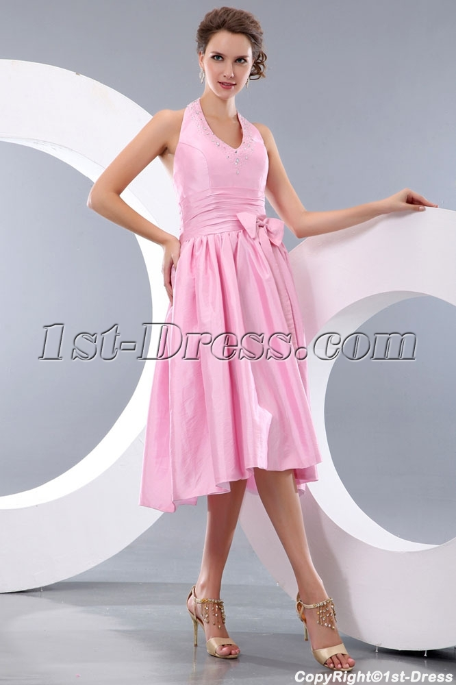 Dusty Rose Halter Knee Length Taffeta Bridesmaid Gowns:1st-dress.com