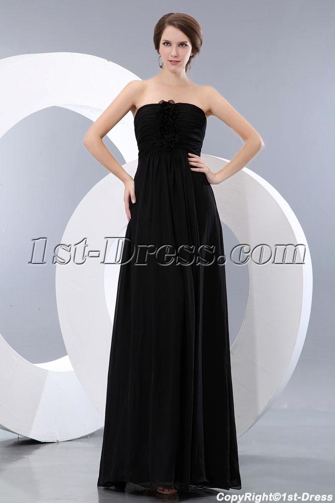 Elegant Black Sweetheart Chiffon Long Ball Gown Dress:1st-dress.com