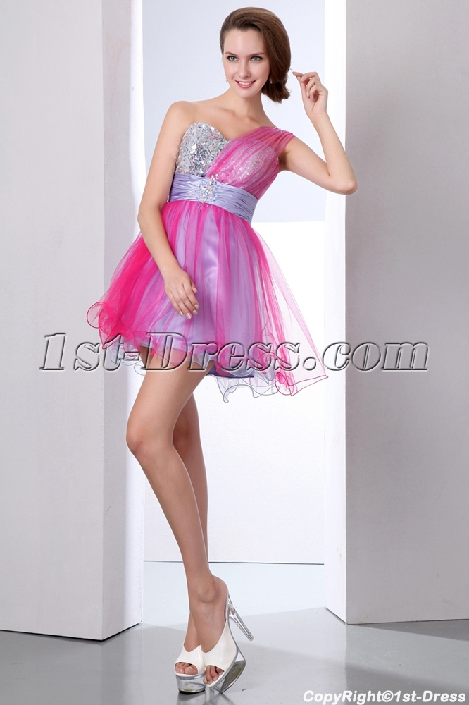 Elegant Colorful One Shoulder Short Cocktail Party Dresses