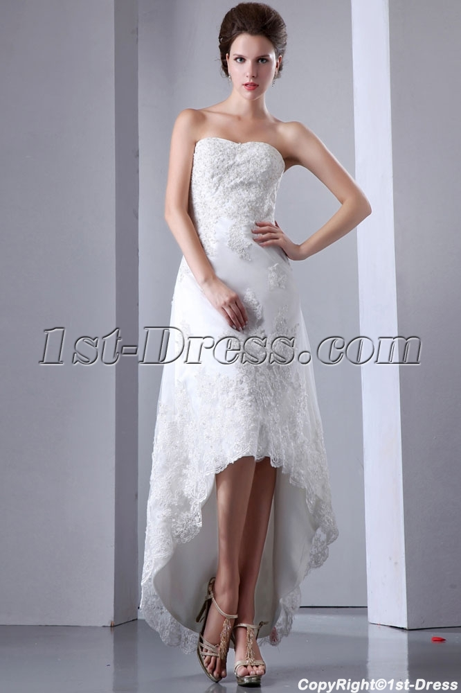 Elegant Lace High-low Outdoor Wedding Gown:1st-dress.com