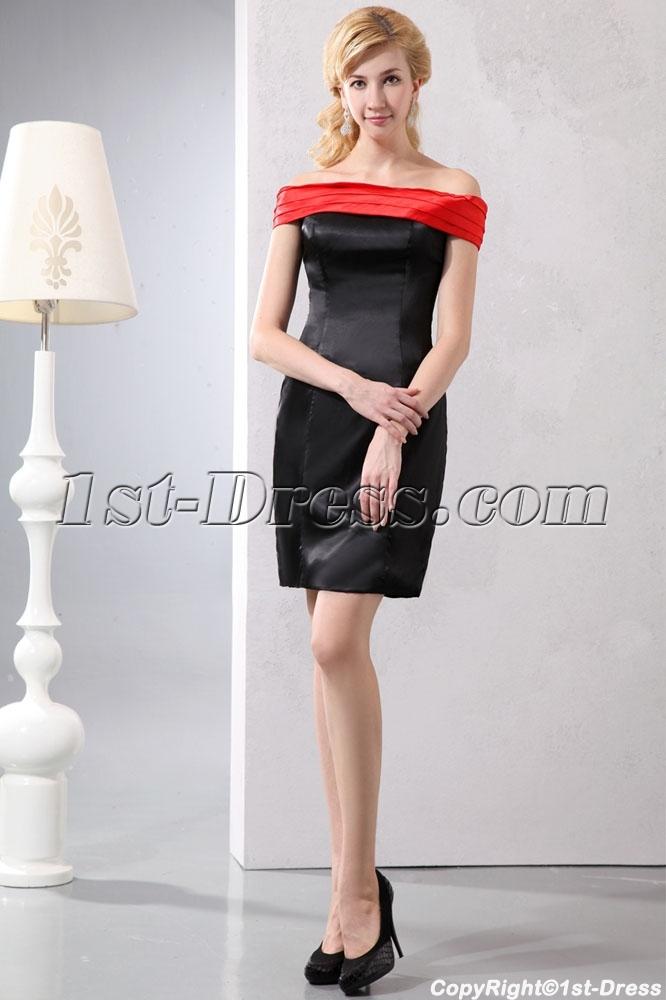 Elegant Red Off Shoulder Little Black Dress Under 100 Loading Zoom