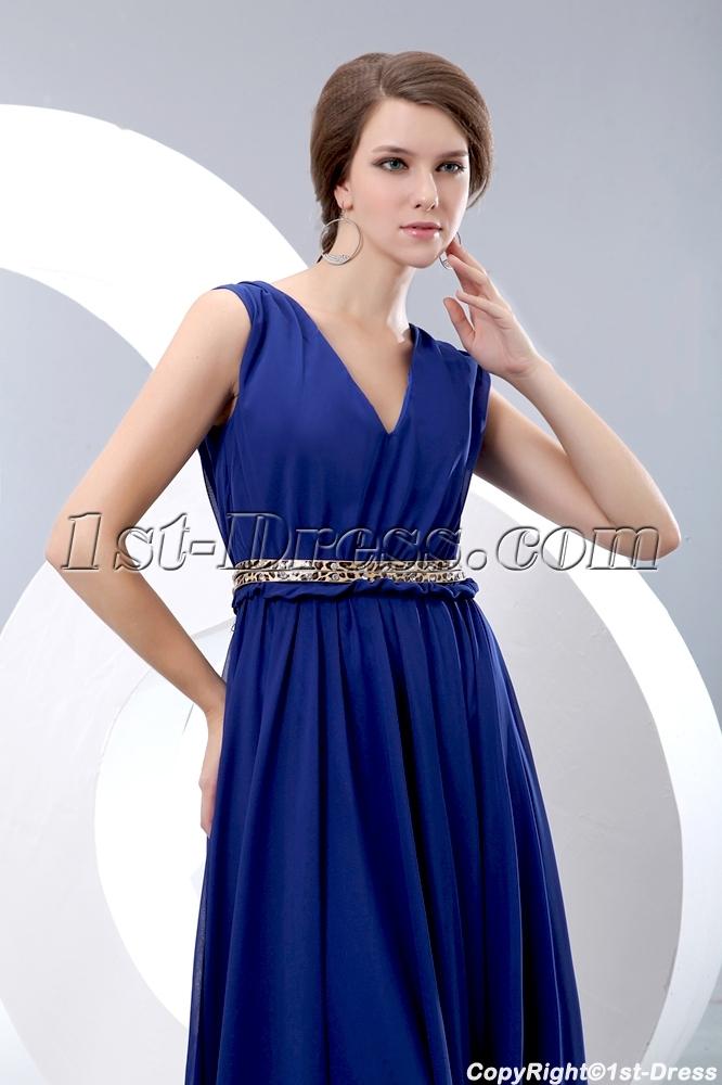 royal blue v neckline chiffon evening dress with