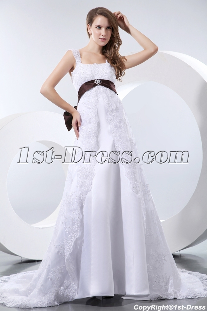 Elegant Straps Lace Maternity Wedding Dresses Los Angeles:1st-dress.com