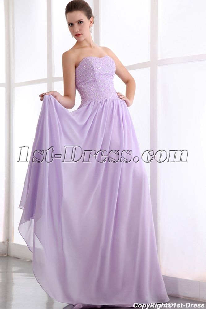 Elegant Sweetheart Beaded Long Lavender Chiffon Plus Size Prom Dress $172.00