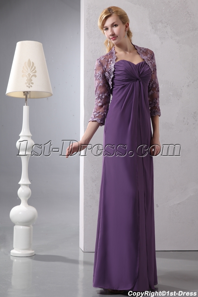 Elegant Sweetheart Chiffon Mother of Groom Party Dress with Lace Jacket