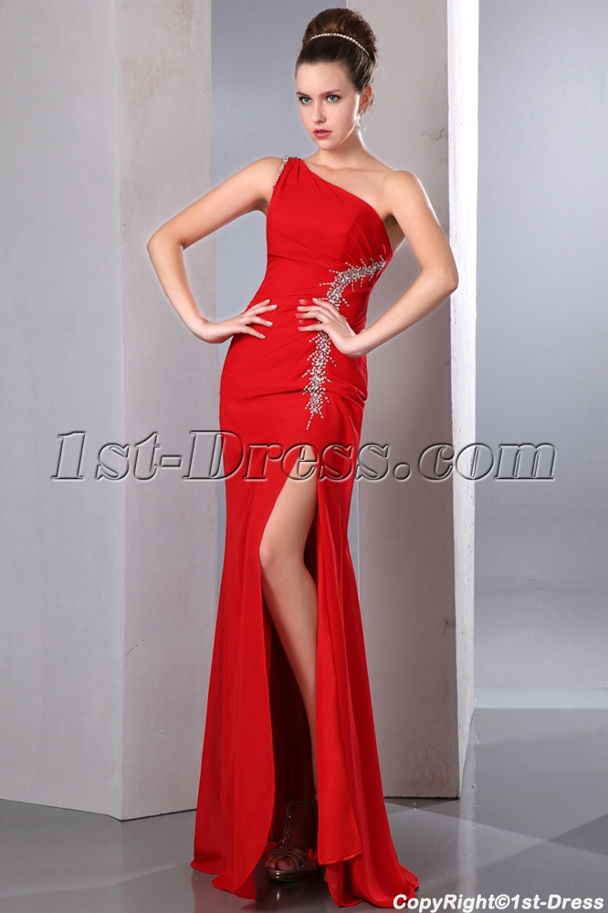 Red One Shoulder Prom Dress with Slit