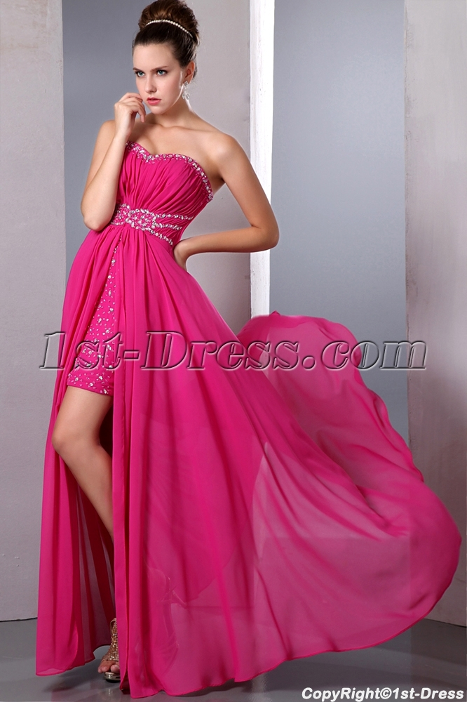 Fancy Hot Pink High Low Hem Prom Dresses under 200:1st-dress.com
