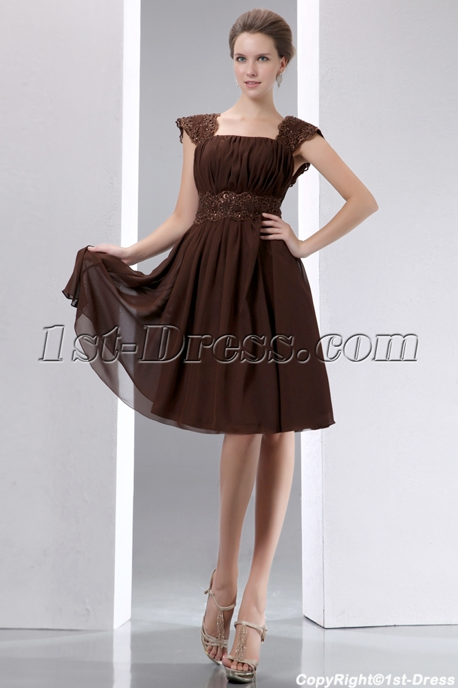 Fantastic brown chiffon short bridesmaid dress with low for Brown dresses for wedding