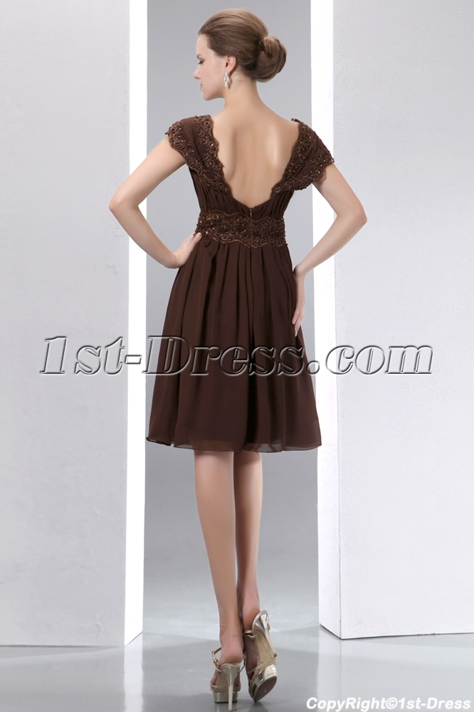 25432beda3a5 prev; next. Specifications. Product Name: Fantastic Brown Chiffon Short  Bridesmaid Dress with Low Back