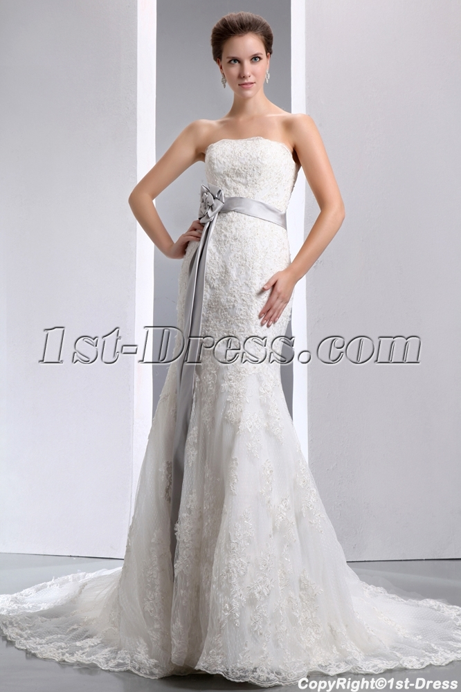Fit and flare strapless lace wedding dresses with silver for Lace fit flare wedding dress