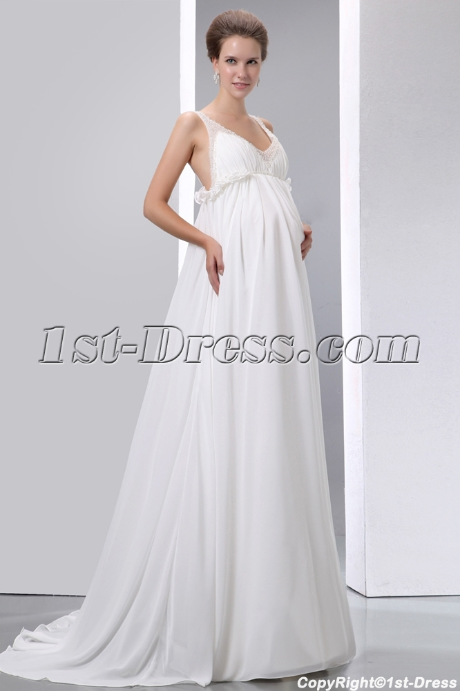 Flowing Chiffon Low Back Maternity Wedding Dresses With Straps Loading Zoom