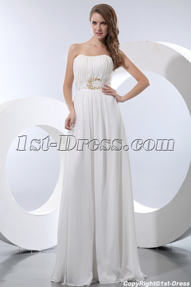 Flowing Long Chiffon Bridal Gown for Large Size:1st-dress.com