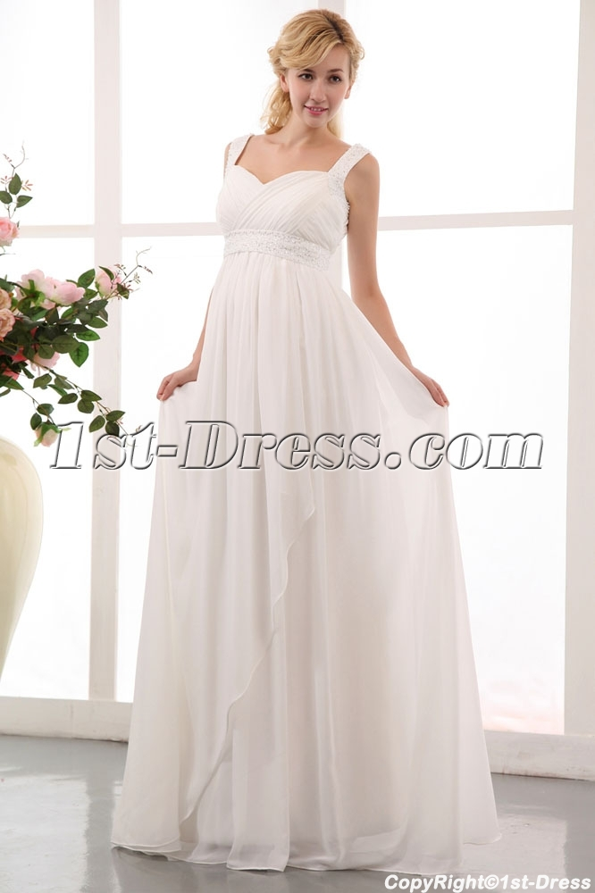 Flowing straps long chiffon plus size maternity pregnant for Plus size maternity wedding dresses